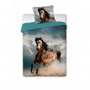 Single BED SET Cotton Duvet Cover HORSE ON THE BEACH Animal and Nature 160x200cm