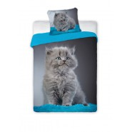 Single BED SET Cotton Duvet Cover GREY BABY CAT Long Hair 140x200cm