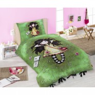 GIRL Doll With GREEN DRESS - SINGLE BED SET Original SANTORO Gorjuss Original DUVET COVER 140x200cm Cotton OFFICIAL