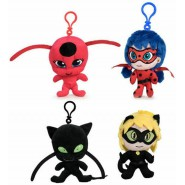 MIRACULOUS Complete Set 4 PLUSHIES 15cm (4 inches) Ladybug Chat Noir Tikky Plagg ORIGINAL Tomy