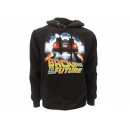 BACK TO THE FUTURE Hooded Sweatshirt Black BTTF Car Official Sweater HOODIE DeLorean Outatime