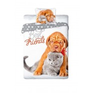 Single BED SET Cotton Duvet Cover DOGO DOG and CERTOSINO CAT Best Friends Animal 160x200cm