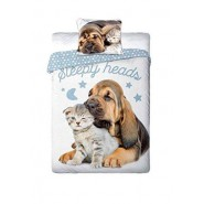 Single BED SET Cotton Duvet Cover SLEEPY HEADS Dog and Cat 160x200cm