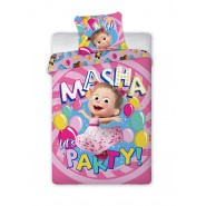 BED SET Duvet Cover MASHA And THE BEAR Let's Party  Girl140x200 COTTON