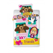 Bed Set BABY Size MASHA AND THE BEAR Funny Friends DUVET COVER 100x135 Cotton