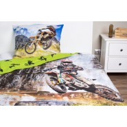 BED SET Cotton Duvet Cover MOTOCROSS Moto Motorcycle 160x200cm
