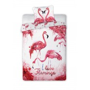 BED SET 160x200cm I LOVE FLAMINGOS Heart Pillow Case 70x80cm 100% Cotton Original