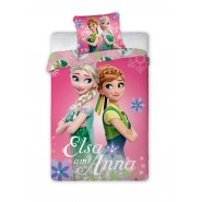 BED SET 140x200cm FROZEN ANNA ELSA Green Dresses + Pillow Case 70x90cm 100% Cotton Original DISNEY