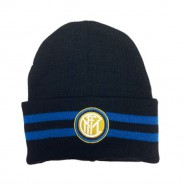 Winter HAT Beanie BLACK with BLUE STRIPES Original INTER Official