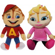 Pair 2 Plushes 30cm ALVIN and BRITTANY from Alvin and the CHIPMUNKS Peluche Original WhiteHouse