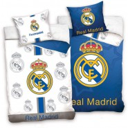Single BED SET Cotton Duvet Cover REAL MADRID White Blancos Logo 140x200cm