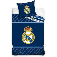 Single BED SET Cotton Duvet Cover REAL MADRID BLUE Blancos Logo 135x200cm