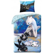 How To Train Your DRAGON Single Bed Set Dragon Puppies Original DUVET COVER 140x200cm and Pillow Case 70x90cm Cotton OFFICIAL