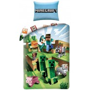 MINECRAFT Single Bed Set CACTUS RUN Running Original DUVET COVER 140x200cm Cotton OFFICIAL