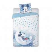 BABY BED SET Cotton Duvet Cover MICKEY MOUSE On The MOON 100x135cm ORIGINAL