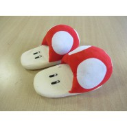 PAIR of Plush SLIPPERS of TOAD Mushroom Super Mario JUNIOR SIZE Japan New