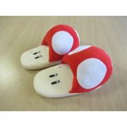 PAIR of Plush SLIPPERS of TOAD Mushroom Super Mario JUNIOR SIZE Japan New