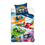 TOP WINGS Team Single Bed Set AereoPlane 4 Characters Original DUVET COVER 140x200cm Cotton OFFICIAL