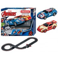 Electric Slot Car AVENGERS Marvel CAPITAN AMERICA vs IRON MAN 3.6 Meters CARRERA GO !!!