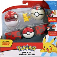 POKEMON Clip 'n' Go Official BELT With 1 Figure PIKACHU STANDING and 2 PokeBall RED and BEIGE