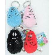 Complete Set 4 BARBAPAPA Plush KEYCHAIN Key Holder BARBA-DAD Pink Red Black Blue 8cm Original DUJARDIN