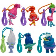 TROLLS Complete Set 6 Mini FIGURES for Collectors Key Hanger ORIGINAL Cake Topper Decoration