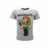 MINECRAFT T-Shirt Jersey GREY Alex With Pickaxe OFFICIAL Original Videogame