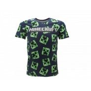 MINECRAFT T-Shirt Jersey BLUE 100 Creeper's Faces Cactus OFFICIAL Original Videogame