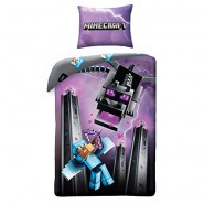 MINECRAFT Single Bed Set Character with Bow Fighting a Dragon Original DUVET COVER 140x200cm Cotton OFFICIAL