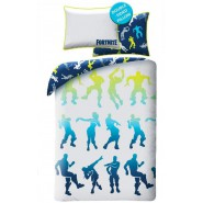 FORTNITE Single Bed Set With Famous Dances Fluo Color from the videogame Original DUVET COVER 140x200cm Cotton OFFICIAL