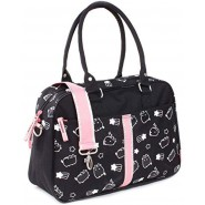 PUSHEEN Cat Bag Handbag 38x25x12cm Celebrity Black With Silver Drawing ORIGINAL Vadobag