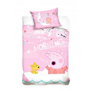 BABY BED SET Cotton Duvet Cover PEPPA PIG In The MORNING 100x135cm ORIGINAL
