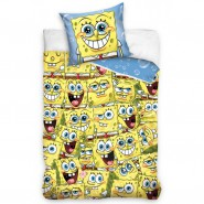 SPONGEBOB Bed Set 100 Faces Original DUVET COVER 140x200cm Cotton OFFICIAL