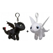 DRAGONS Couple 2 Plushies Small With Clip TOOTHLESS and LIGHT FURY 19cm Dragon Trainer ORIGINAL