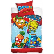 BED SET Original SUPERZINGS Red With 4 CHARACTERS Duvet Cover 140x200cm + 70x90cm 100% Cotton