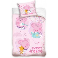 BABY BED SET Cotton Duvet Cover PEPPA PIG Sweet Dreams 100x135cm ORIGINAL