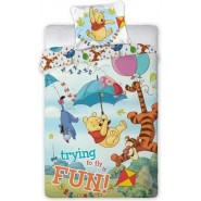 Bed Set Duvet Cover WINNIE THE POOH Trying To Fly COTTON 140x200cm Original DISNEY
