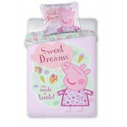 BABY BED SET Cotton Duvet Cover PEPPA PIG TREATS for Sweet Dreams 100x135cm ORIGINAL