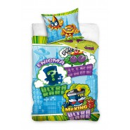 BED SET Original SUPERZINGS Green With ULTRA RARE CHARACTERS Duvet Cover 140x200cm + 70x90cm 100% Cotton