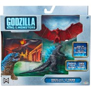 GODZILLA Vs RODAN Action Figure 9cm With Backdrop and Images King Of Monster 65 Anniversary JAKKS PACIFIC