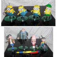 SET 8 Figures GREEN Stand 7cm Characters Animated Cartoon Minions