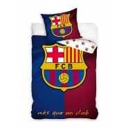 Single BED SET Cotton Duvet Cover FCB BARCELONA Mes Que Un Club Logo 140x200cm