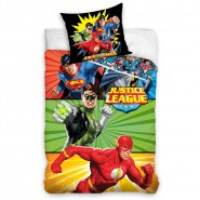 BED SET Original JUSTICE LEAGUE Superman Flash Green Lantern Batman Duvet Cover 140x200cm + 70x90cm 100% Cotton
