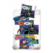 BED SET Original JUSTICE LEAGUE Cartoons Superman Flash Batman Duvet Cover 160x200cm + 70x80cm 100% Cotton