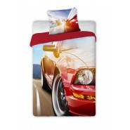 BED SET Cotton Duvet Cover SPORT CAR MUSTANG Red 160x200cm