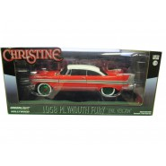 CHRISTINE DieCast Model Car 19cm PLYMOUTH 1958 FURY Red White Blacked Out Windows GREEN WHEEL CHASE 1/24 ORIGINAL Greenlight