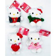 HELLO KITTY Set 4 Plush 12cm KeyChain Key Holder SOUND Original SANRIO