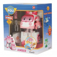 AMBER Robot Tranformer WITH LIGHTS from ROBOCAR POLI 12cm Original