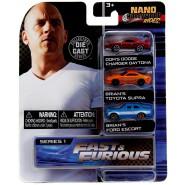 FAST AND FURIOUS Set 3 Different Mini Models CAR 4cm NANO Blister NV-3 Original JADA TOYS DieCast