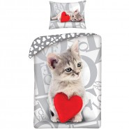 Single BED SET Cotton Duvet Cover GREY BABY CAT With Red HEART 140x200cm
